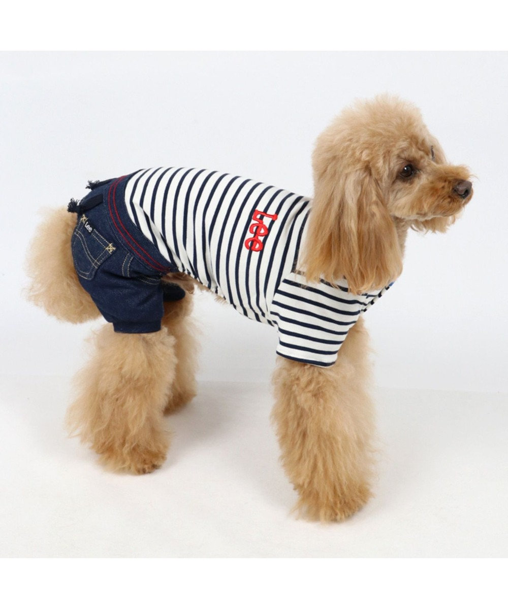 PET PARADISE Lee ボーダー パンツつなぎ〔小型犬〕 紺(ネイビー・インディゴ)