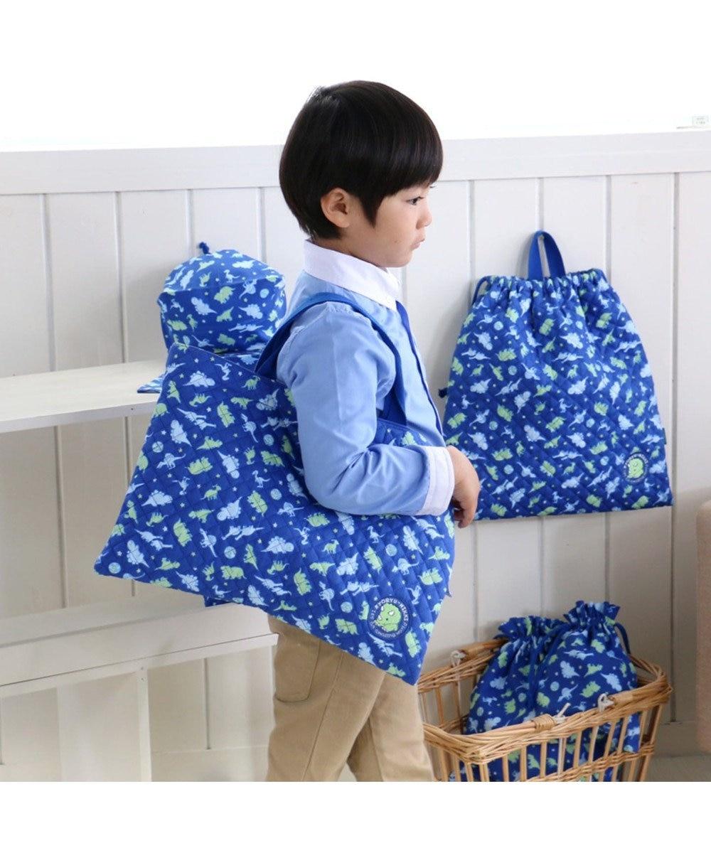 Mother garden きょうりゅう日記 《地球柄》 キルトレッスンバック 手提げ袋 紺(ネイビー・インディゴ)