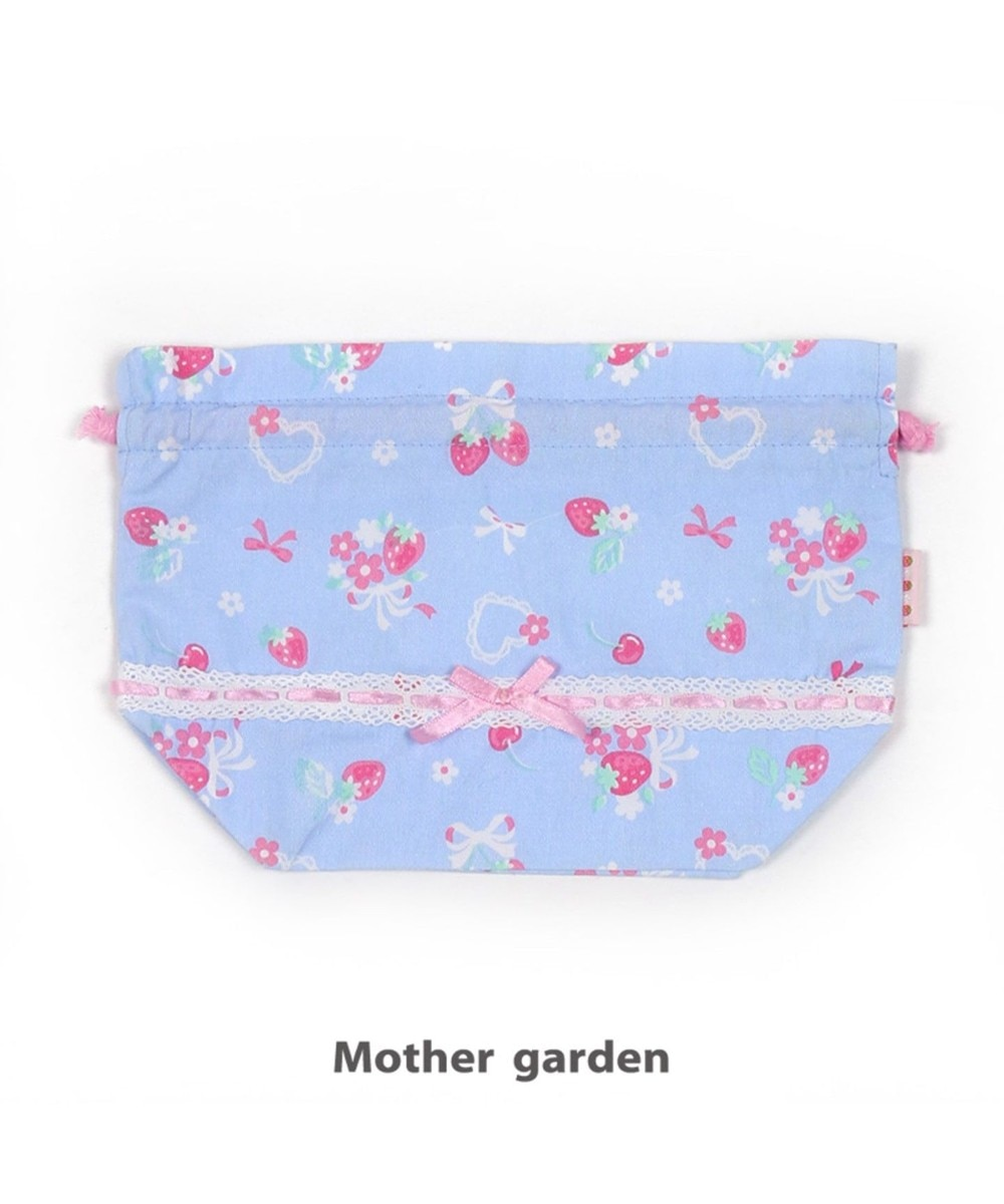 【オンワード】 Mother garden>食器/キッチン マザーガーデン 野いちご 《ブーケ柄》 ランチ巾着 お弁当袋 ランチ袋 水色 0