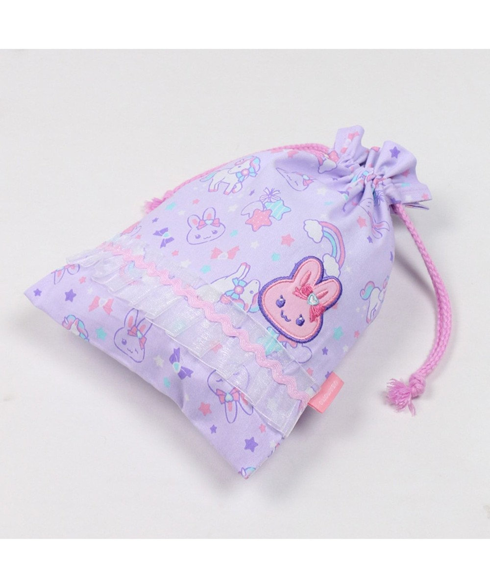 Mother garden うさもも 《ユニコーン柄》 巾着袋 小 着替え袋 巾着 紫
