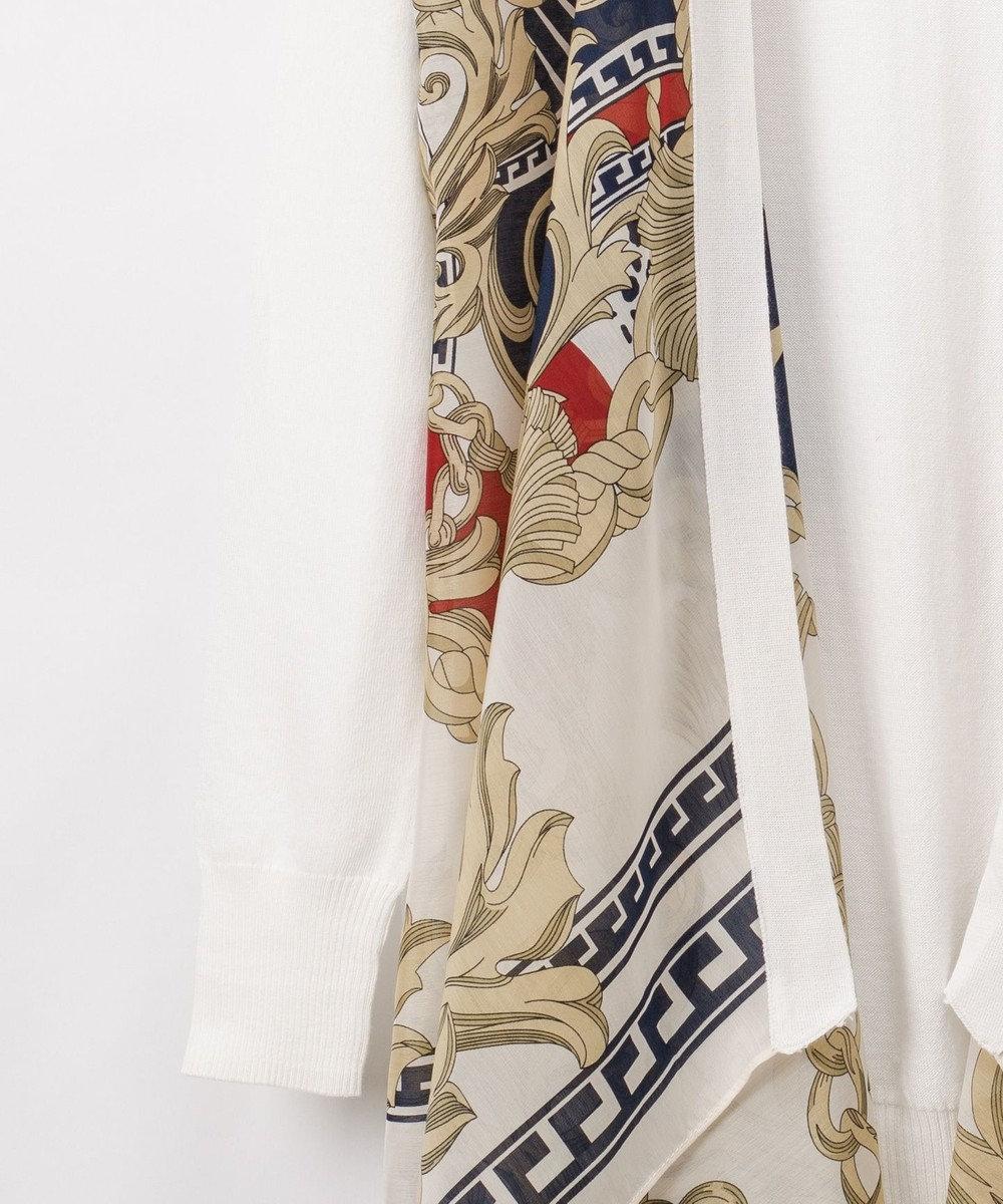 GRACE CONTINENTAL スカーフプリントカーディガン ホワイト