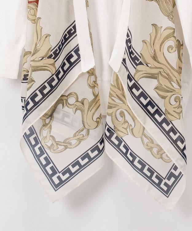 GRACE CONTINENTAL スカーフプリントカーディガン