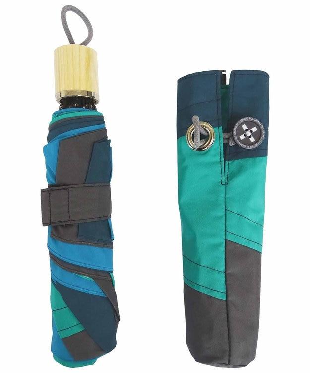+RING 【プラスリング】【限定/日本製】UNISEX パッチワーク 雨傘(折りたたみ)GRN SR277