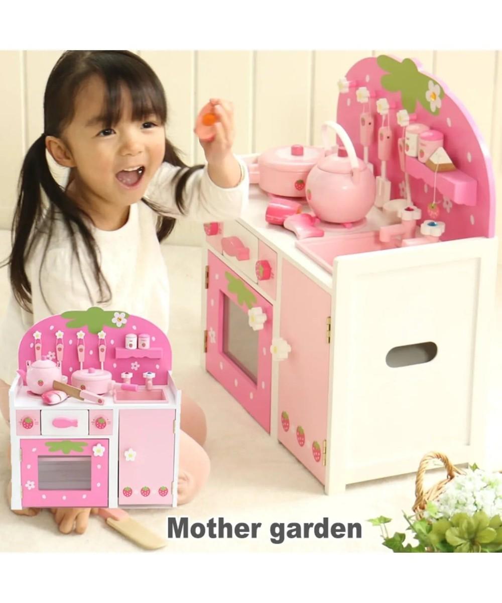 【オンワード】 Mother garden>おもちゃ マザーガーデン 木製 おままごと ままごと セット 野いちご システムグリル キッチン 《ピンク》 木のおもちゃ キッチン コンパクト おもちゃ おままごとセット お誕生日プレゼント 子供の日 ピンク(