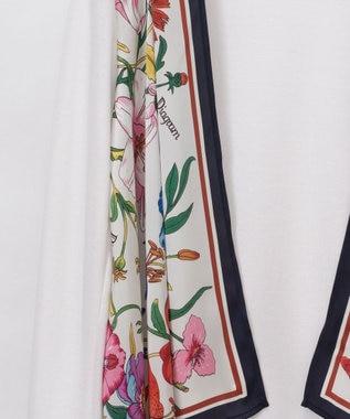 GRACE CONTINENTAL フラワースカーフカーディガン ホワイト