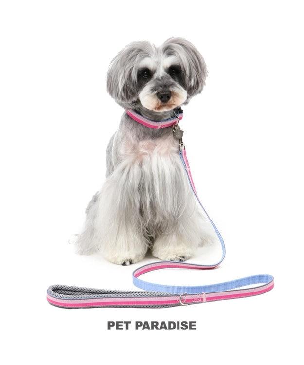 PET PARADISE ペットパラダイス 切替首輪&リード 桃 〔中・大型犬〕 ペットSM/M/L 犬具