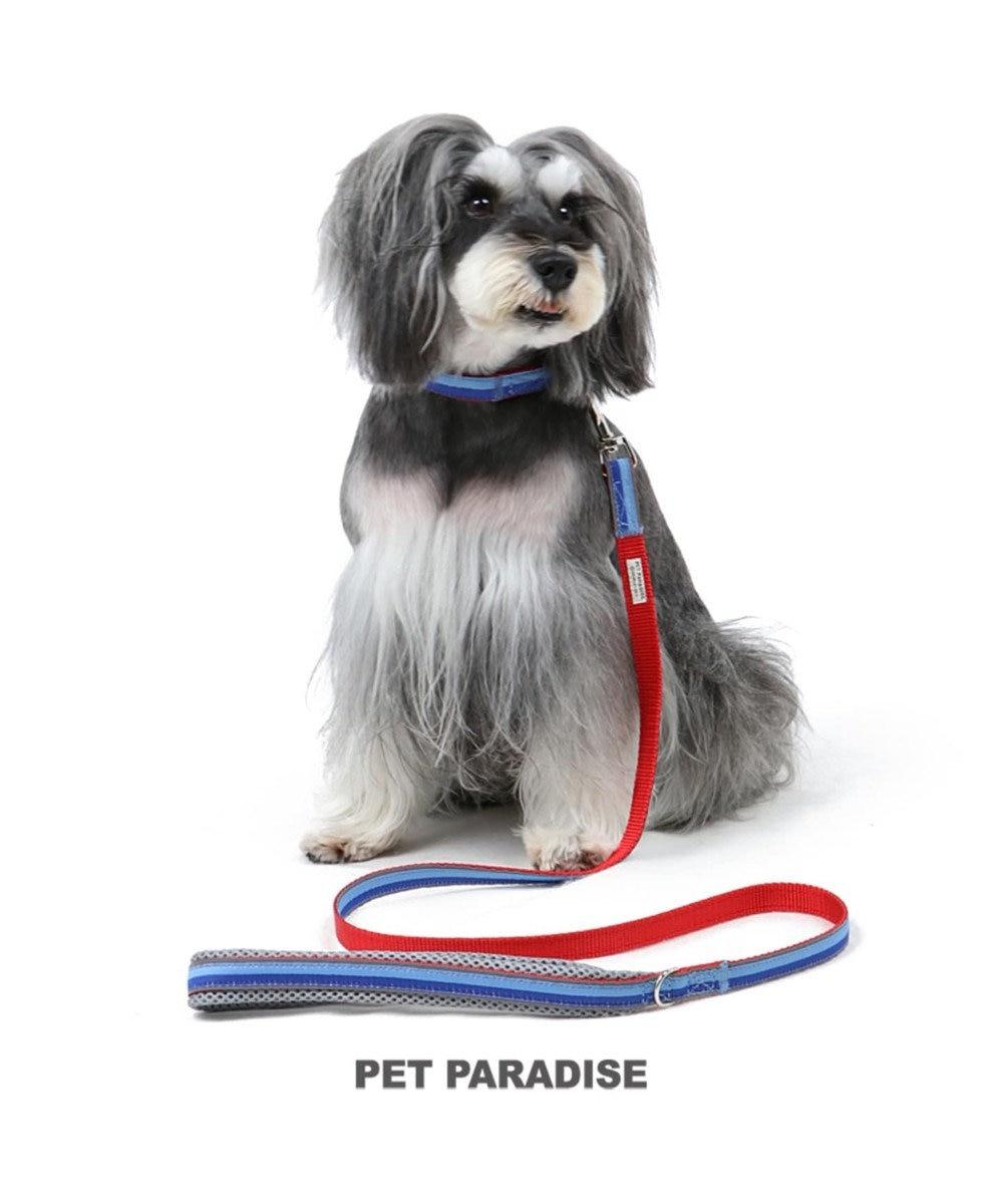 PET PARADISE ペットパラダイス 切替首輪&リード 青 〔中・大型犬〕 ペットSM/M/L 犬具 青