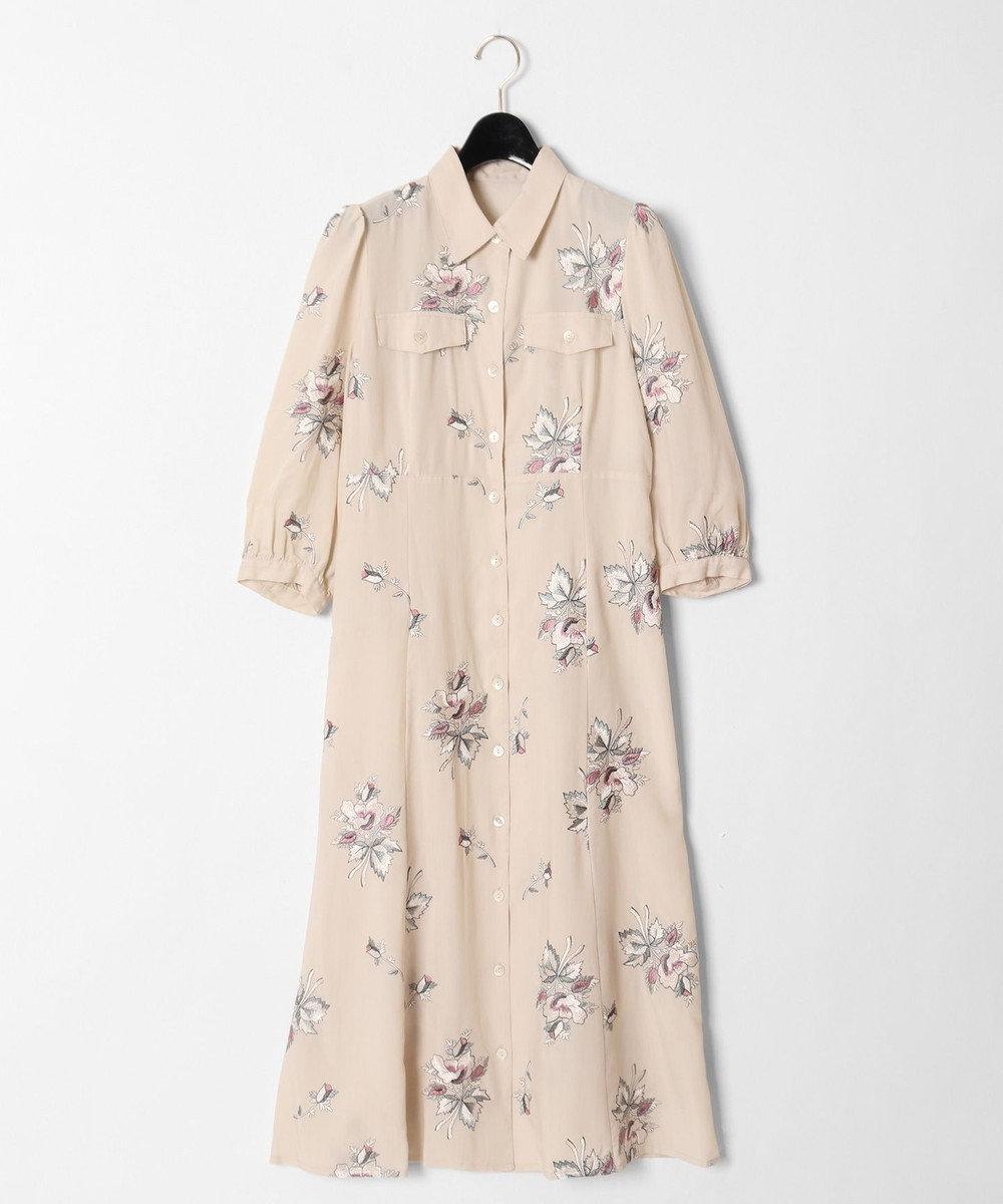 GRACE CONTINENTAL フラワー刺繍シャツワンピース キナリ