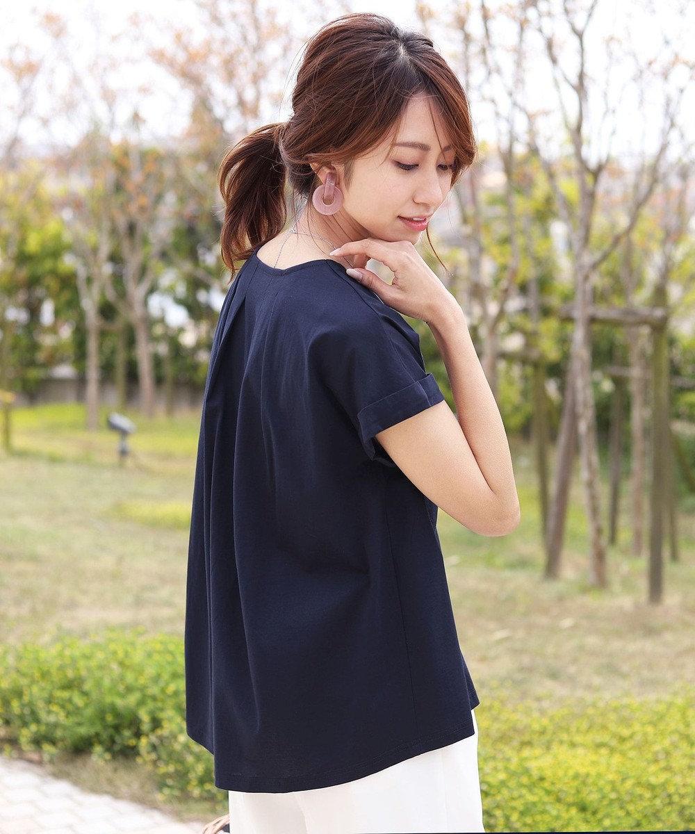 Tiaclasse 【洗える】さらりとした着心地のバイオシルケットTシャツ ネイビー