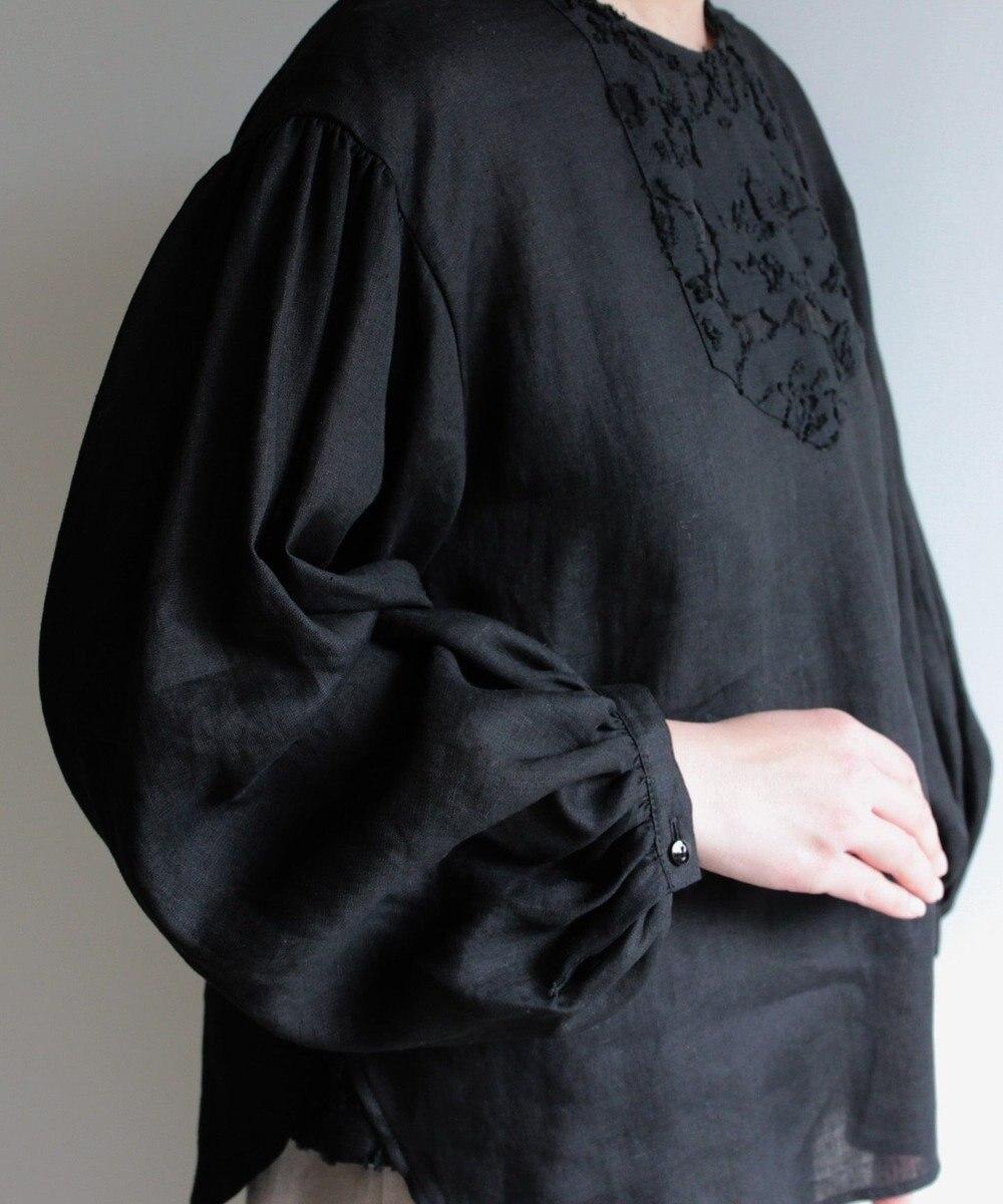 muuc カットジャカードブラウス ブラック