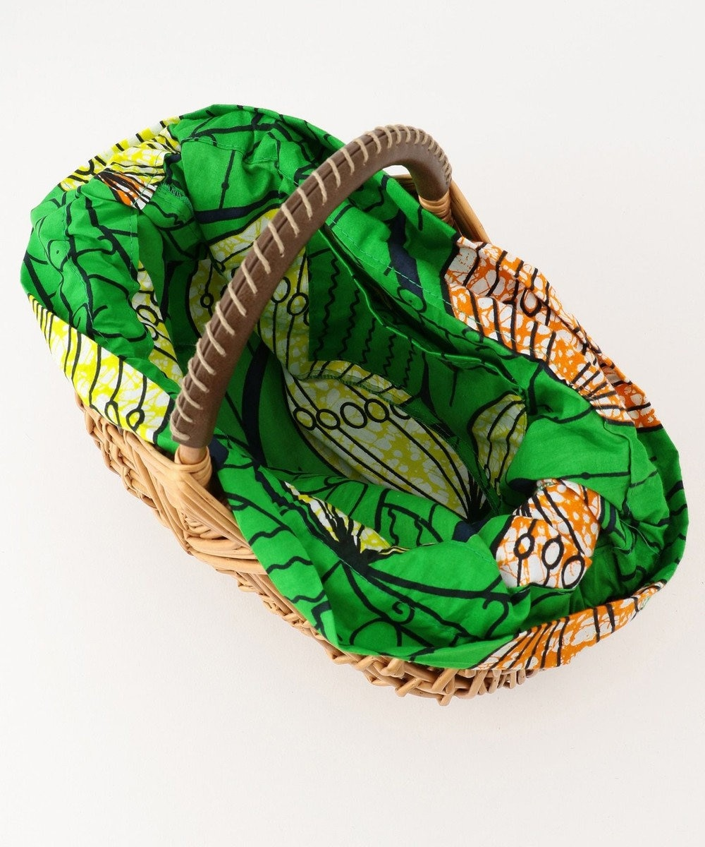UNBILLION kakatoo アフリカンプリント巾着付ウィローカゴバッグ ブラウン