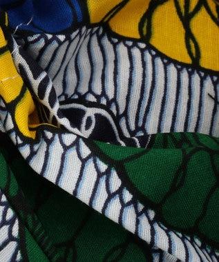 UNBILLION kakatoo アフリカンプリント巾着付ウィローカゴバッグ ブラック