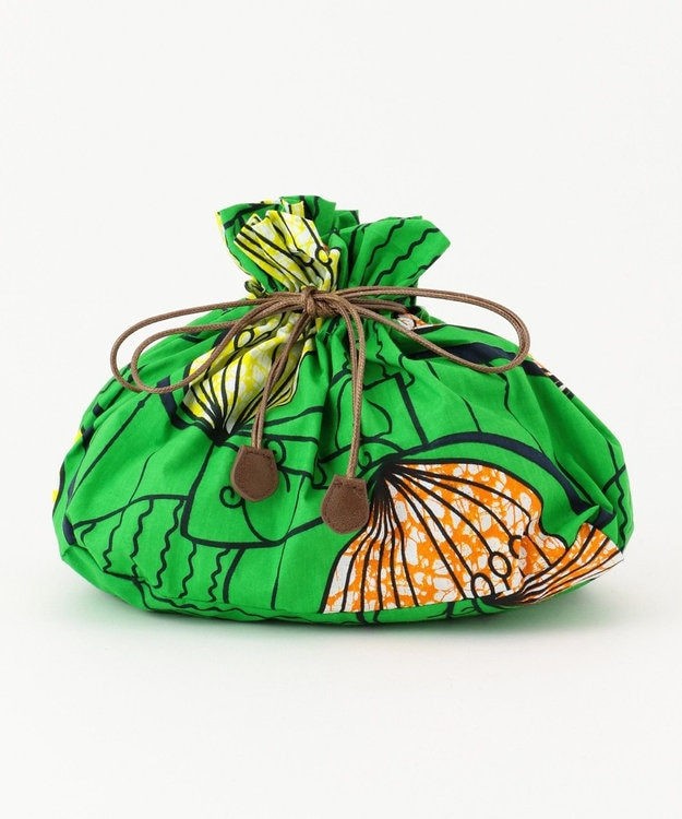 UNBILLION kakatoo アフリカンプリント巾着付ウィローカゴバッグ