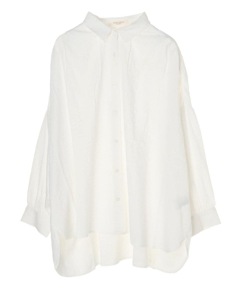 Green Parks コットンサッカーワイドシャツ Off White