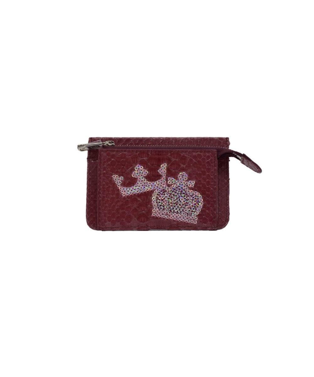 MIYABIYA PRIMA PELLE 本革/パイソン スパンコール刺繍 ミニ財布 ボルドー