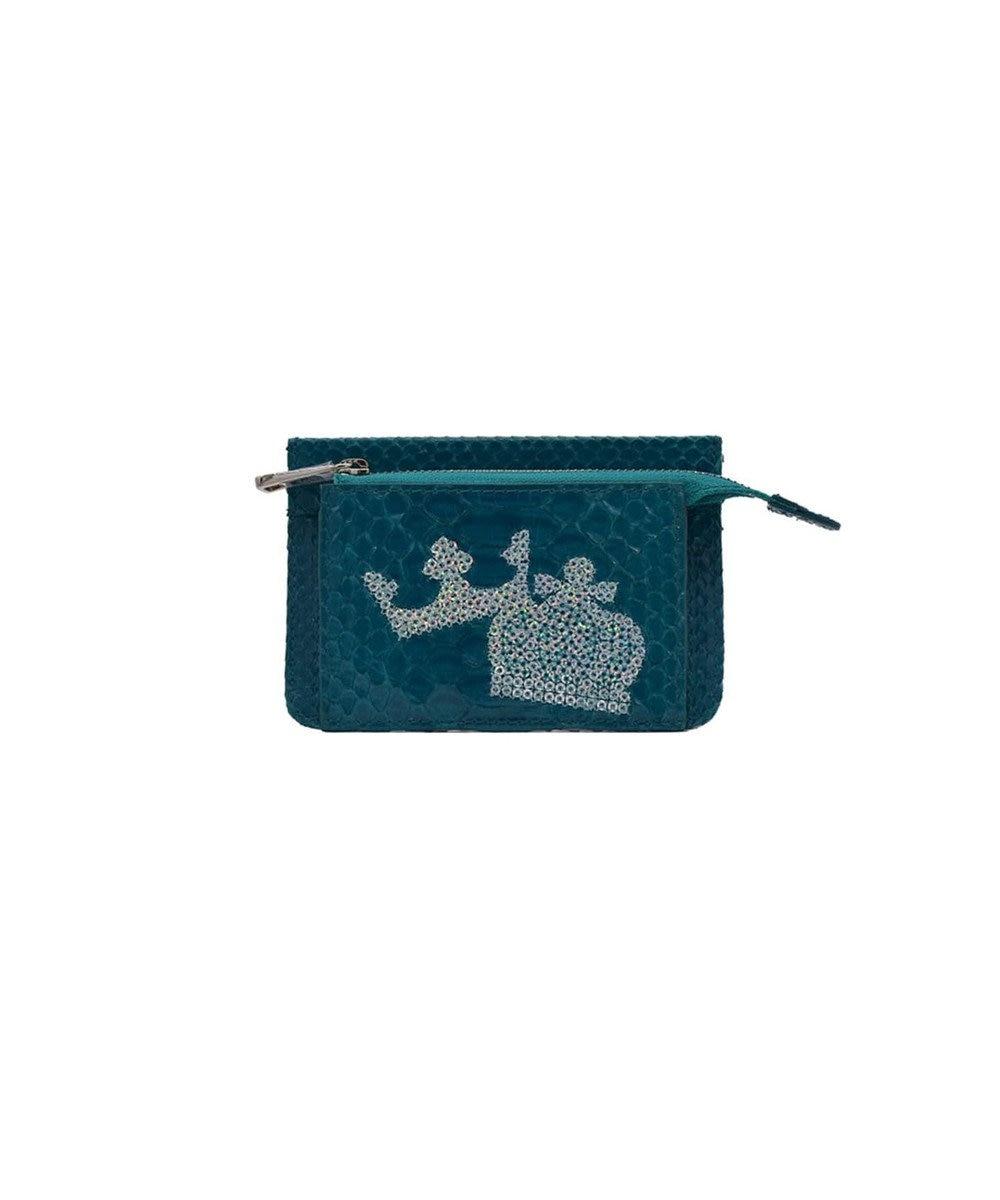 MIYABIYA PRIMA PELLE 本革/パイソン スパンコール刺繍 ミニ財布 ターコイズ