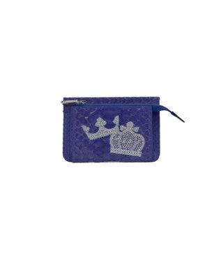 MIYABIYA PRIMA PELLE 本革/パイソン スパンコール刺繍 ミニ財布 パープル