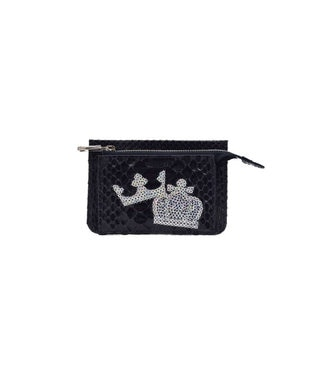 MIYABIYA PRIMA PELLE 本革/パイソン スパンコール刺繍 ミニ財布 ブラック