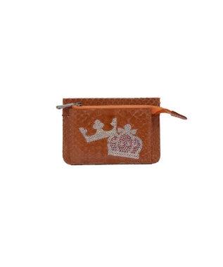 MIYABIYA PRIMA PELLE 本革/パイソン スパンコール刺繍 ミニ財布 オレンジ