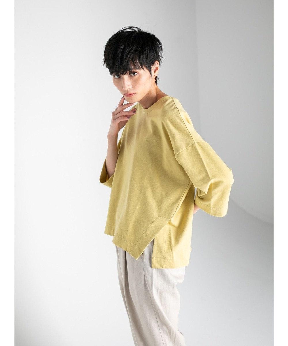 koe ミニ裏毛サイドスリット7分袖プルオーバー Yellow