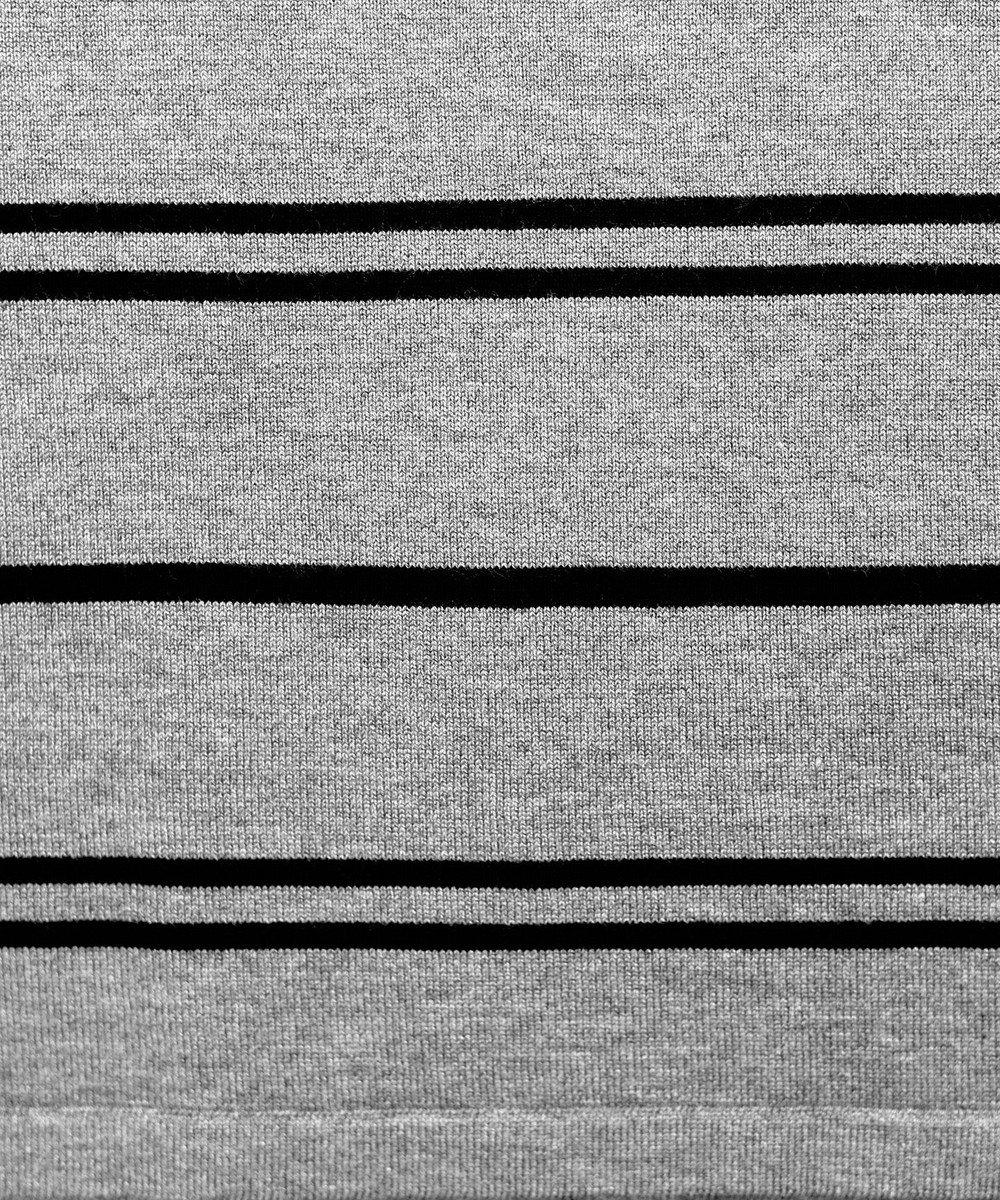 Tiaclasse 【洗える】体型カバーも叶うボーダーニットチュニック グレー