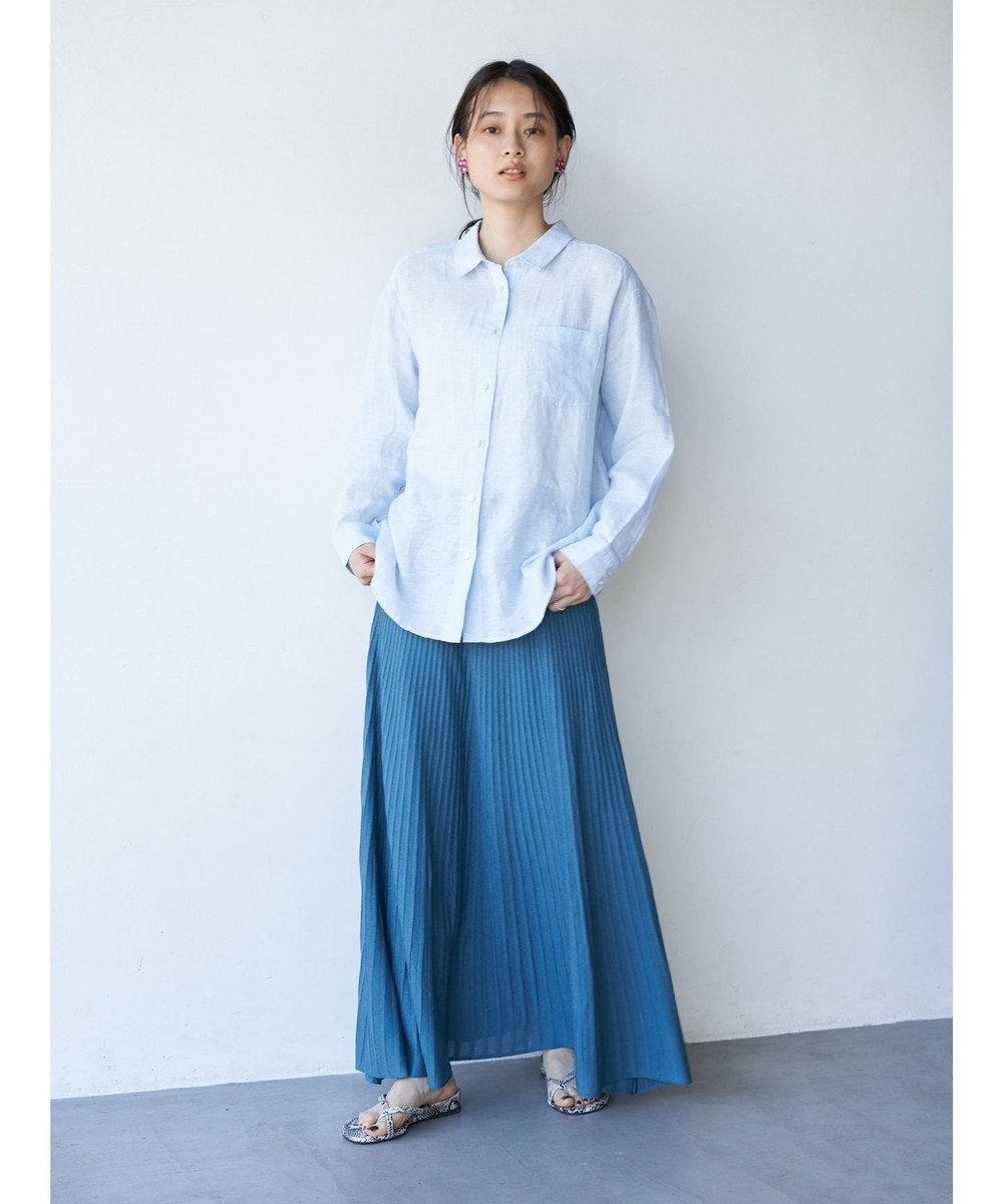 AMERICAN HOLIC プリーツ風ニットロングスカート Turquoise Blue