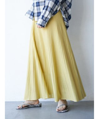 AMERICAN HOLIC プリーツ風ニットロングスカート Yellow