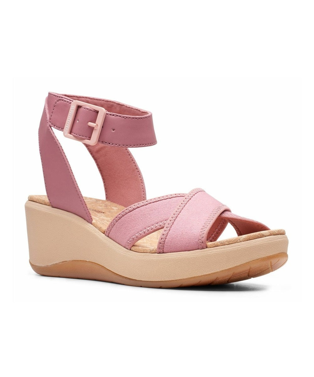 REGAL FOOT COMMUNITY 【クラークス ウィメンズ】Step CaliCoast/ウェッジヒールサンダル ピンク生地