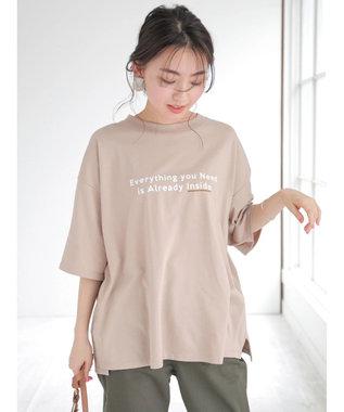Green Parks ポイントカラーロゴTシャツ Beige
