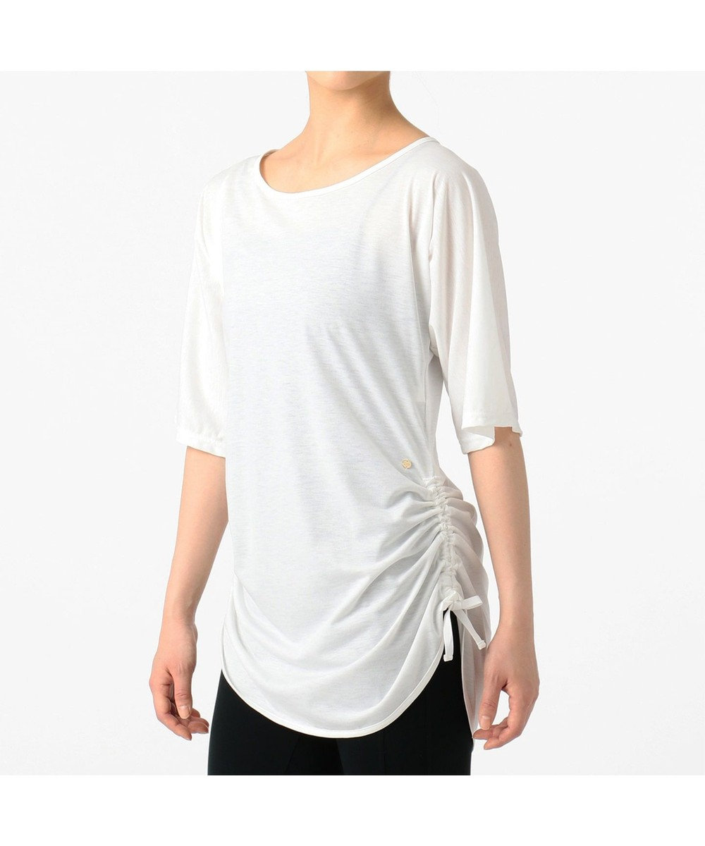 Chacott サイドドローストリングTシャツ ホワイト