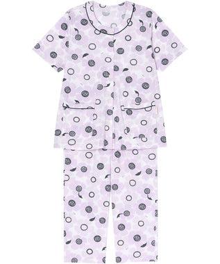 Wing 【パジャマ】おおきなお花柄 5分袖・8分丈パンツ ウイング/ワコール EP8038 ピンク