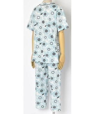 Wing 【パジャマ】おおきなお花柄 5分袖・8分丈パンツ ウイング/ワコール EP8038 サックス