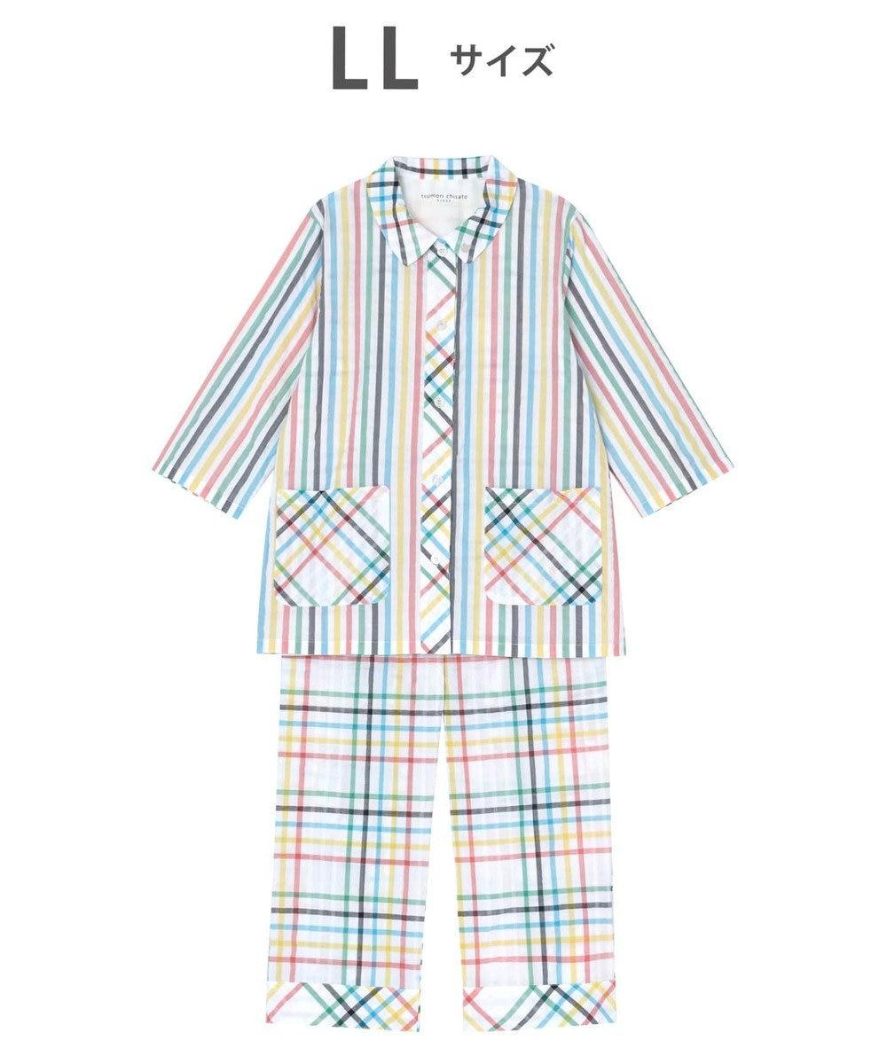 tsumori chisato SLEEP パジャマ 8分袖8分パンツ チェック柄とストライプ柄 /ワコール UDP369 イエロー