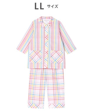 tsumori chisato SLEEP パジャマ 8分袖8分パンツ チェック柄とストライプ柄 /ワコール UDP369 ピンク