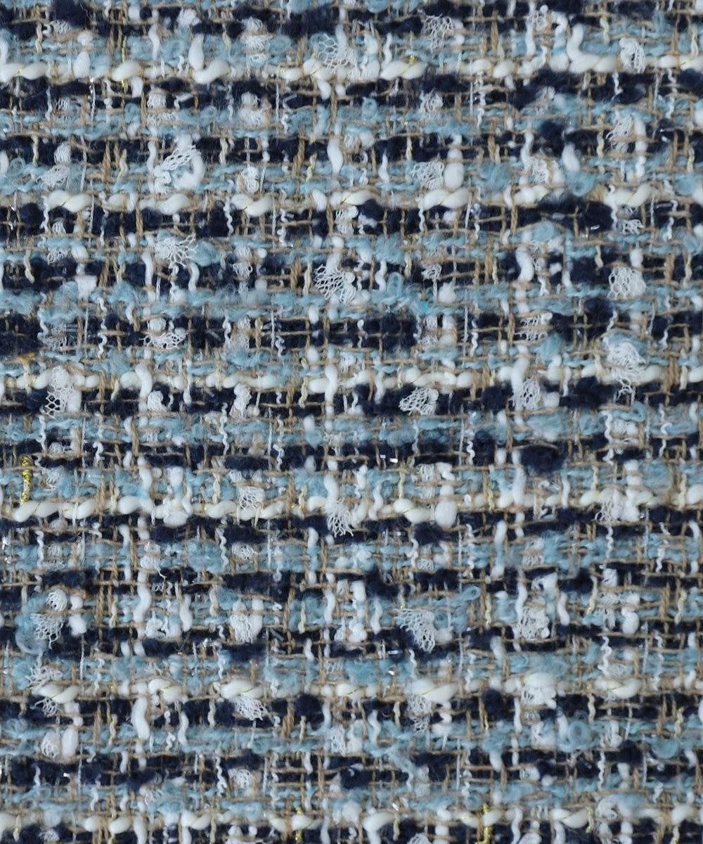 Tiaclasse 【洗える】女性らしさ薫るツイードフレア袖コンビワンピース サックス