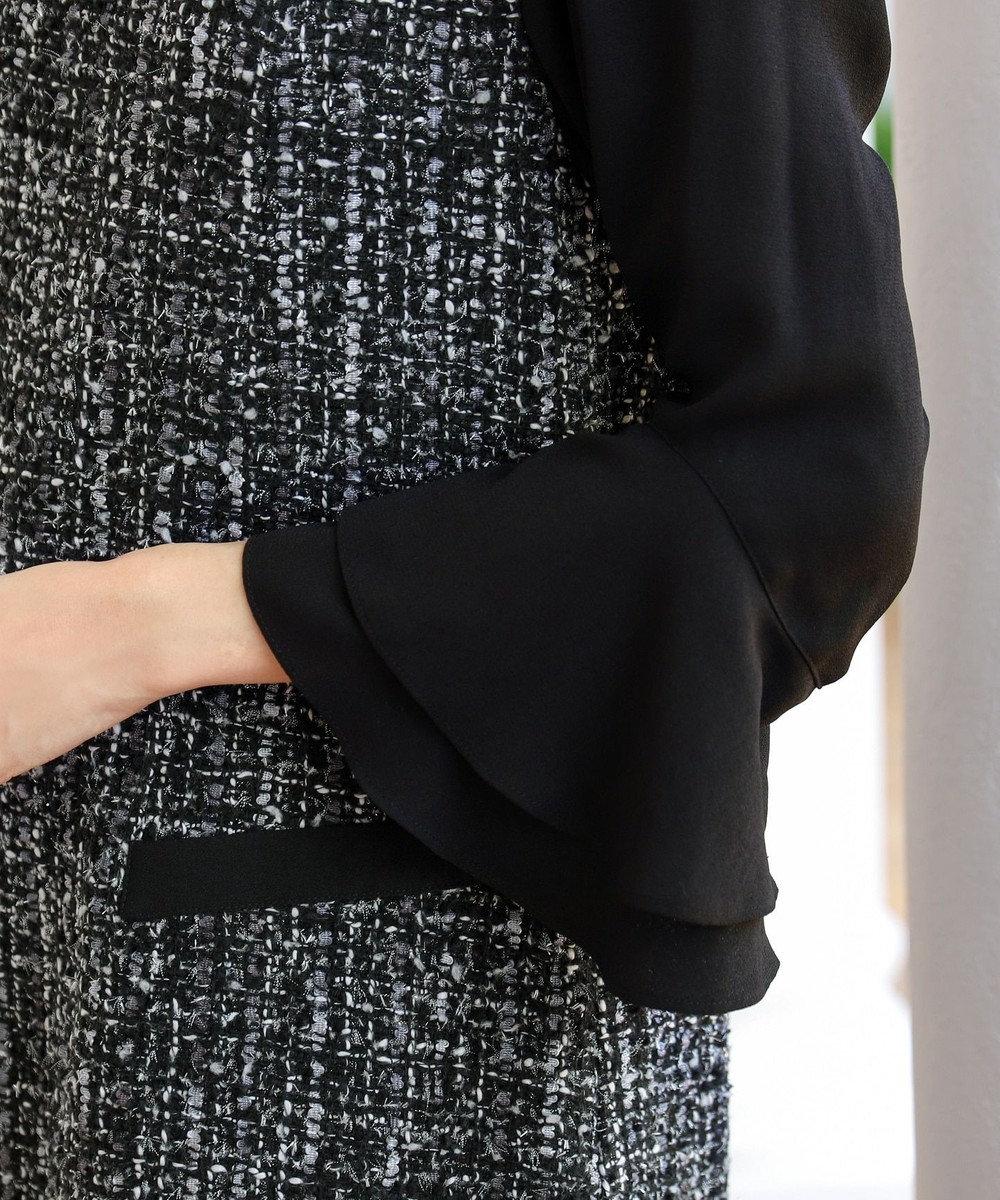 Tiaclasse 【洗える】女性らしさ薫るツイードフレア袖コンビワンピース ブラック