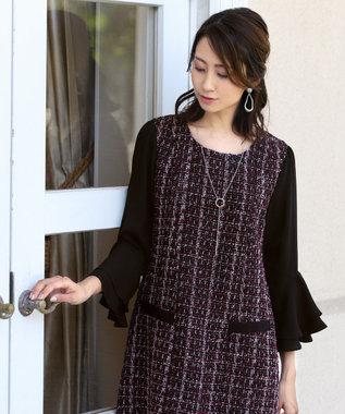 Tiaclasse 【洗える】女性らしさ薫るツイードフレア袖コンビワンピース パープル