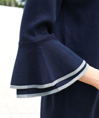 Tiaclasse 【洗える】女性らしさ薫る、2段フレア袖ニットチュニック ネイビー