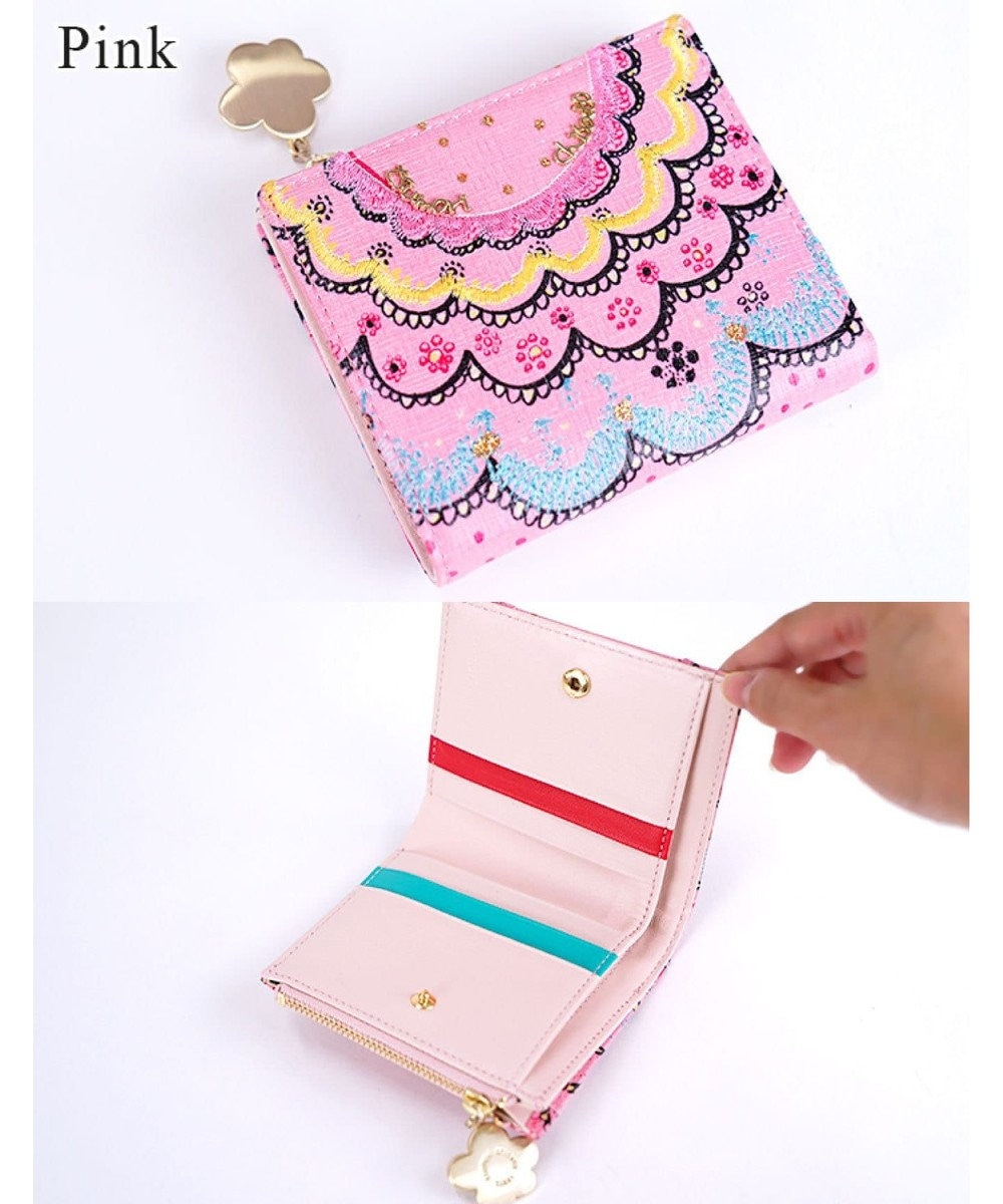 tsumori chisato CARRY スカラッププリント 折り財布 2つ折り ピンク