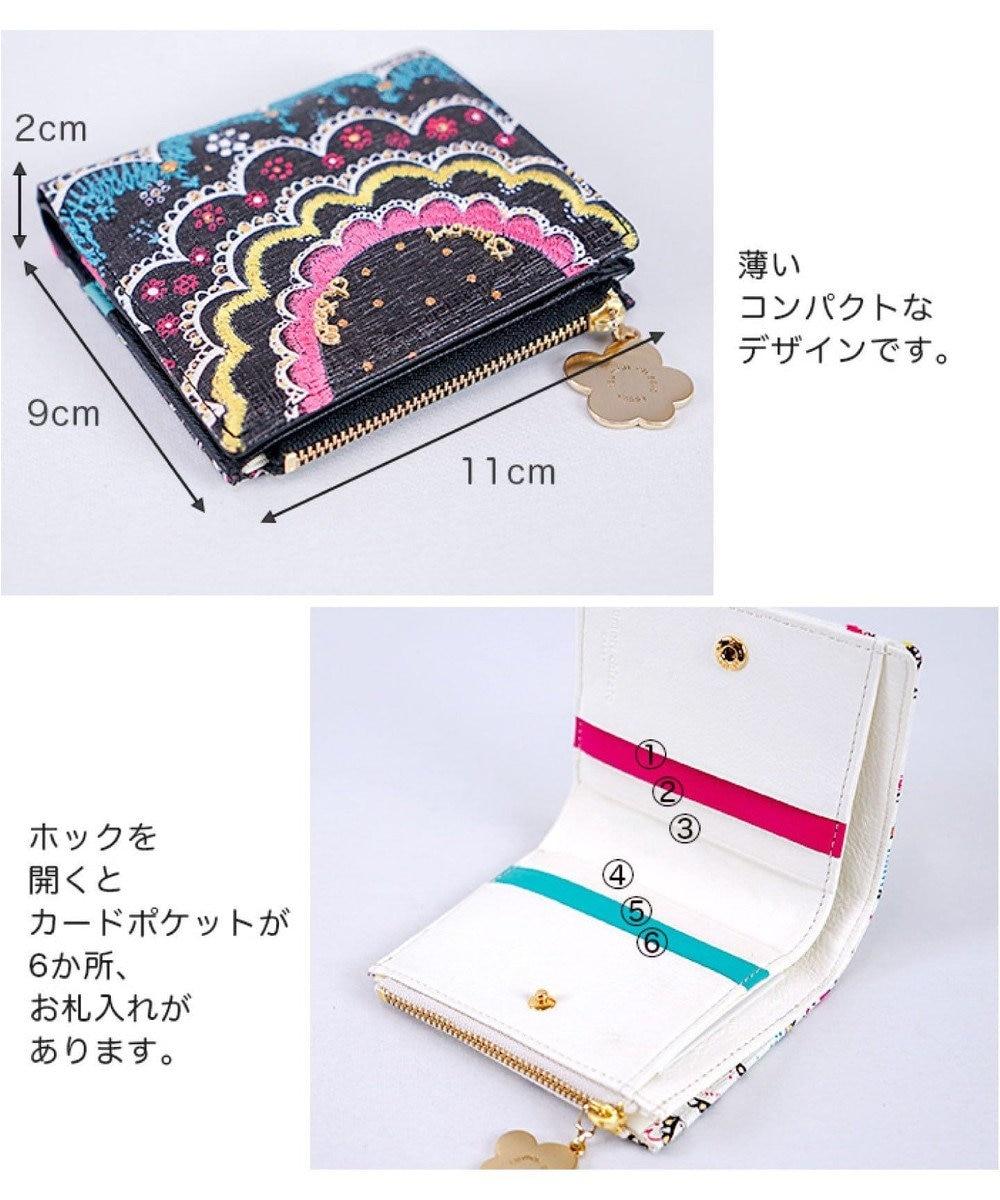 tsumori chisato CARRY スカラッププリント 折り財布 2つ折り ホワイト