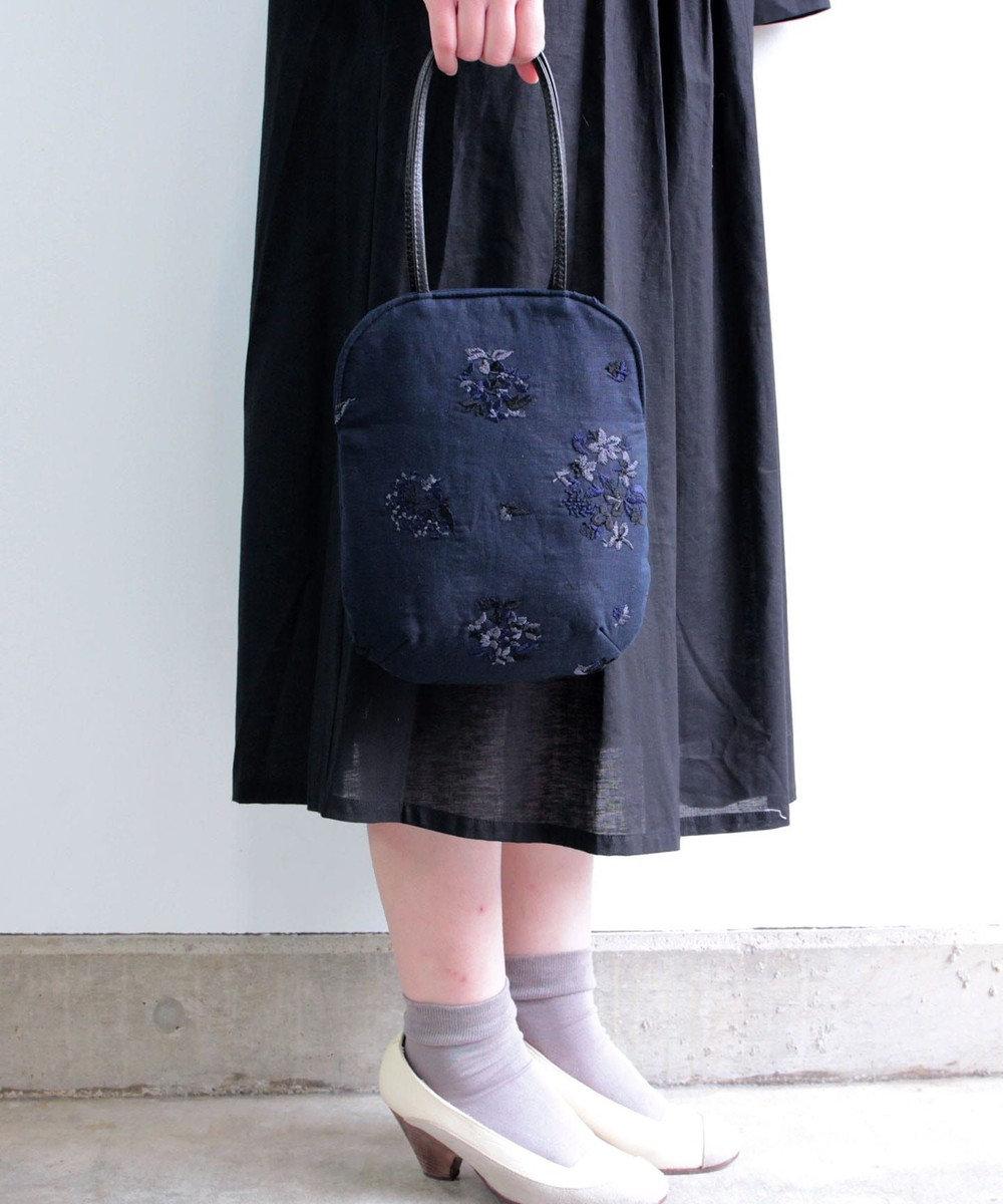 muuc 野小花刺繍のminiバッグ ネイビーブラック