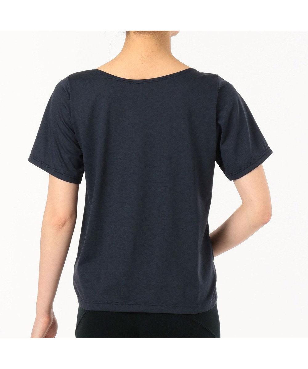 Chacott ギャザーディテールTシャツ ネイビー