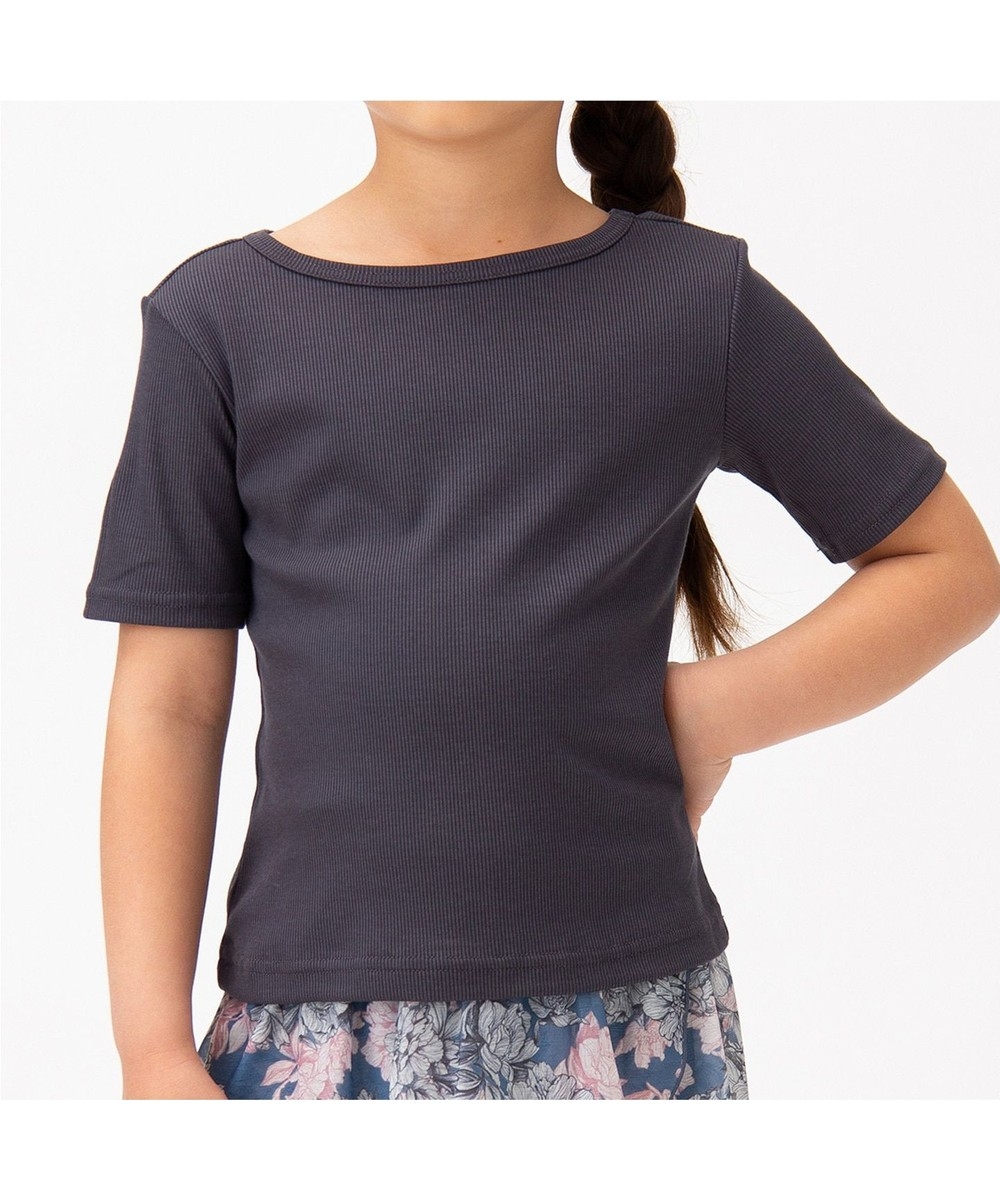 【オンワード】 Chacott>ダンス・フィットネス リブTシャツ ダークグレー 120 レディース