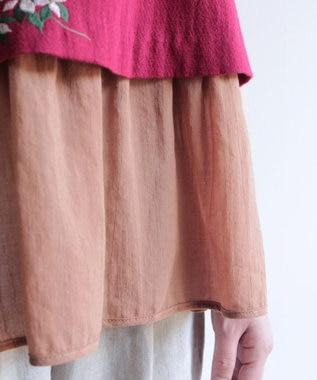 muuc 果実花刺繍のノースリーブトップス レッド