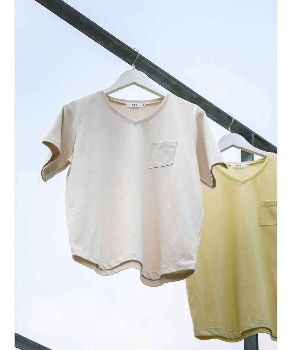koe きれいめVネックTシャツ Light Beige