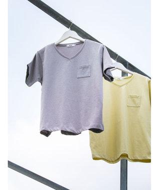 koe きれいめVネックTシャツ Light Gray