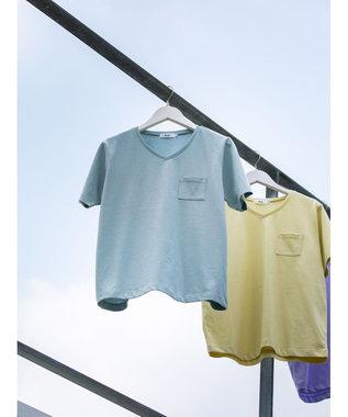 koe きれいめVネックTシャツ Sax
