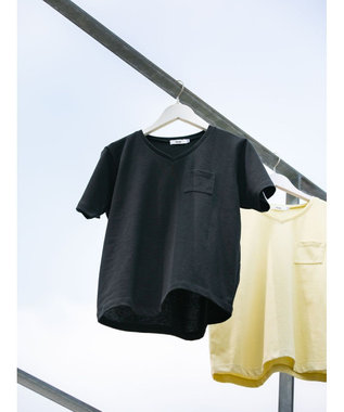 koe きれいめVネックTシャツ Black