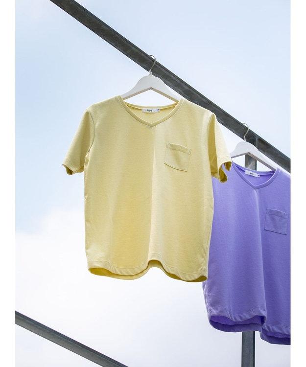 koe きれいめVネックTシャツ