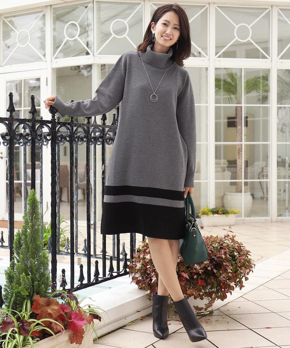 Tiaclasse 【洗える】ミラノリブ編みの配色タートルニットワンピース グレー